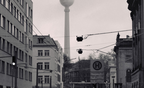 hazy. foggy, berlin, tv tower, street, black and white, canon