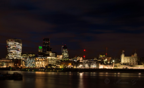 #London #canon #nightphotography #longexposure #thames #tower_ of_ london #gherkin #walkie_talkie