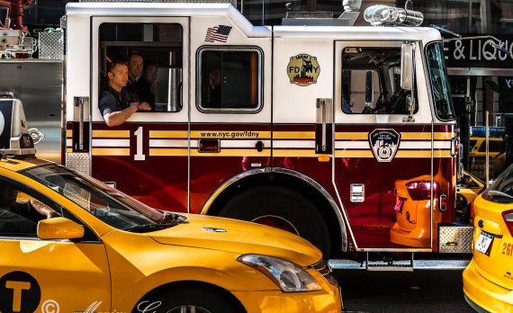 #fire_truck #firemen #yellow_ cab #traffic #canon #newyork
