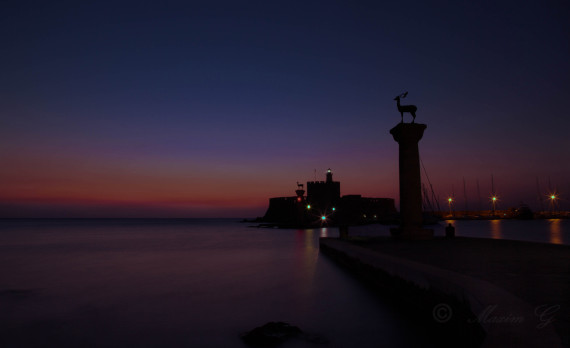 Sunrise, harbour, mandraki, old harbour, deer , statues, Colossus of Rhodes, canon