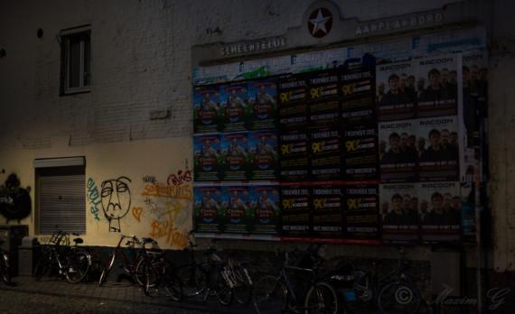Minckelersstraat, Maastricht, bikes, aanplakbord, graffitti, canon
