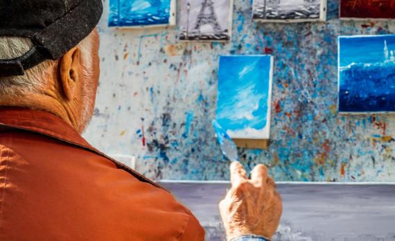 painter's easel, The Artist, Paris, eiffeltower, paintings, canon
