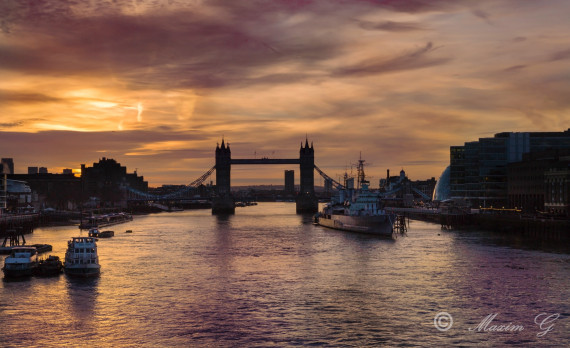 london, river, thames sunrise, hms belfast, city hall, towerbridge, canon