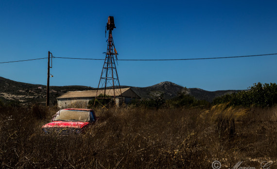 red, old, nissan, pickup, windmill , straw, barn, farmers, canon