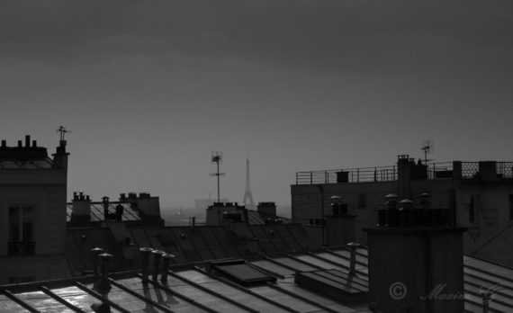 #Paris #Rooftop #Eiffel tower #canon #black and white