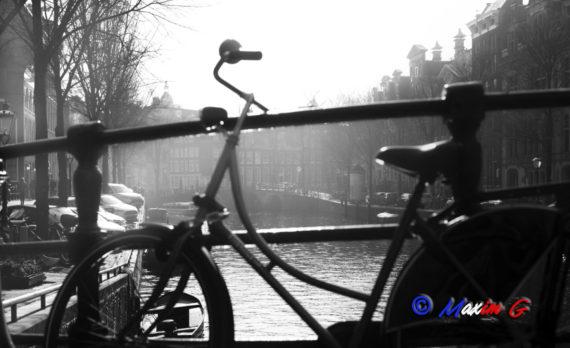#amsterdam #haze #bnw #canon #bike #bridge #canal #maximg